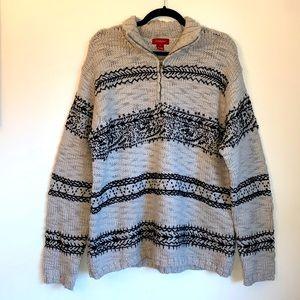 Sundance Icelantic Style Knit Wool 1/4 Zip Sweater